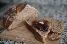 Homemade bread and jam with a bit of butter.