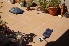 Solar power and solar shower.